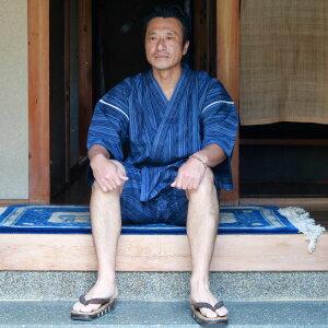 甚平(じんべい)■日本製紳士甚平【伝統民芸久留米織しじら織甚平】(ギフトボックス)[父の日ギフト]
