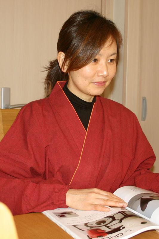 【民芸作務衣】婦人専用デザイン綿作務衣(赤色・金茶・紺色)[05P09Jul16]