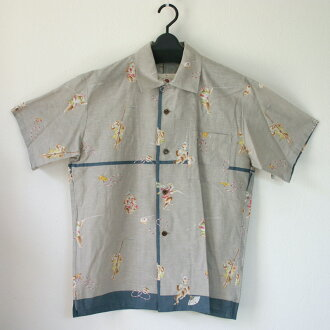 MAJIKAO reproduction sum pattern Hawaiian shirt, monkey, ash