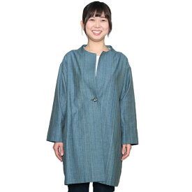宮田織物 らしか grass(グラス)ジャケット レディース 春秋冬用 日本製 綿100% ノーカラー グリーン フリー ロング丈