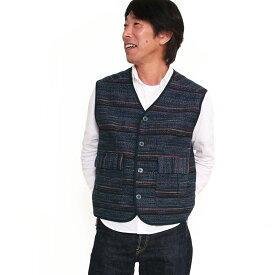 【送料込】宮田織物 アマツブ紳士ベスト メンズ ギフト 男性 春 秋 冬 日本製 綿100% 和調 黒 紺 フリー