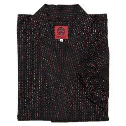 新型作務衣さむえしずく刺し子レディース女性宮田織物春夏秋冬用日本製綿100%黒/赤フリー