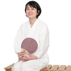 作務衣さむえ宮田織物白紬織りはっ水加工レディース女性春夏秋冬用日本製綿100%whiteフリー