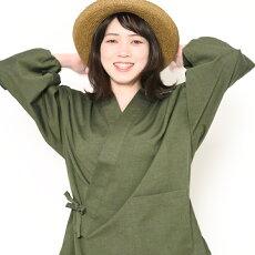 新型作務衣さむえ宮田織物ちぢみ織りレディース女性夏用日本製綿100%紺/グリーン/エンジフリーサイズ甚平同素材