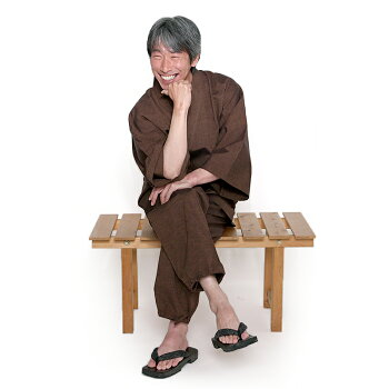 新型作務衣さむえ紬織りギフトパンツ両サイドポケット仕立て男性メンズ宮田織物日本製春夏秋冬綿100%茶M/L/LL