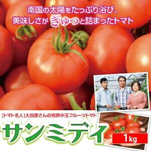 順次発送中!宮崎県産完熟中玉フルーツトマト【サンミディ1kg】濃厚なコクと旨味が癖になる産地直送の高級トマト!ギフトや贈答品におすすめです。パスタ サラダ スープなど料理にも!