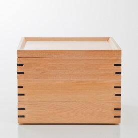 天然木製 三段重箱 スクエア 白木 大 【 運動会 大型 弁当箱 おしゃれ 3段 お重箱 かわいい おせち 正月 花見 】