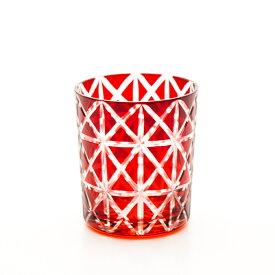 【10%OFF 245円引き 11日1:59まで】 切子オールドグラス 切子グラス タンブラー ロックグラス おしゃれ コップ ガラス 麻の葉 レッド 赤銅色 食洗機対応