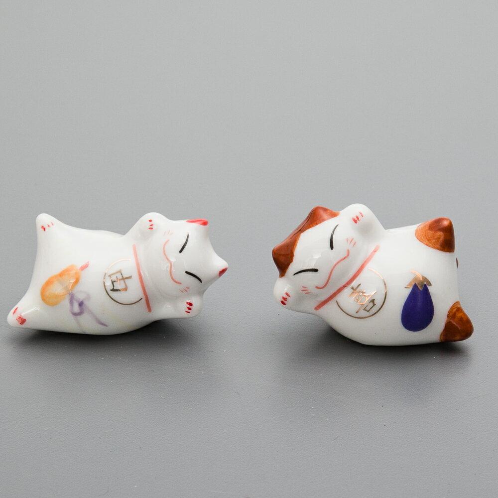 箸置き 幸福招き猫の箸休め 陶器製