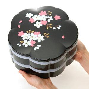 ≪送料無料≫紀州塗り桜型二段オードブル重箱桜花ブラック