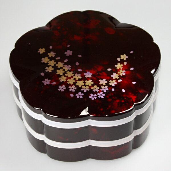 ≪送料無料≫紀州塗り 7.5寸 桜型 二段オードブル 重箱 別甲 彩桜 シール蓋付