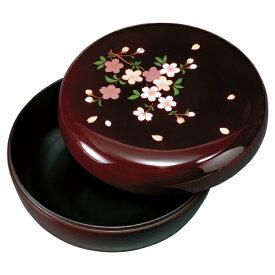 紀州塗り 6寸 菓子器 溜 里桜