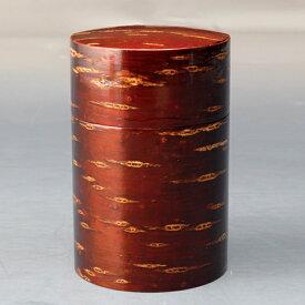 天然木製 桃皮 茶筒(大) 漆塗り