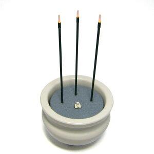 サンやすらぎ2.5寸 電子線香 サンブライトロン 白磁香炉 香呂 線香立て 火を使わない線香 電子の炎で安全 便利! 安心線香 店頭受取対応商品