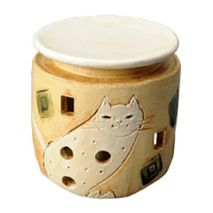 白猫茶香炉 電気式では出せない直火だから出せる香り お香 香炉 茶香炉 お茶 ほうじ茶 手作り 手造り 元 和製アロマ アロマバーナー 店頭受取対応商品 和風アロマ