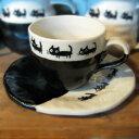 猫の家族 コーヒー碗ソーサーセット ブラック黒 【せともの】【食器】【マグカップ】【紅茶カップ】【ティーカップ】【コーヒーカップ】(元)(ネコの家族)(ねこの家族)【店頭受取対応商品】