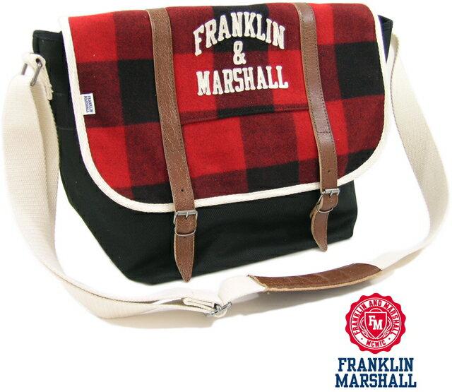 FRANKLIN & MARSHALL (フランクリン&マーシャル) バッファローチェック フラップ付き、メッセンジャーバッグ レッド×ブラック×オフホワイト【smtb-tk】