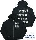 FRANKLIN&MARSHALL/フランクリンアンドマーシャル SWEATSHIRT WITH HOOD AND ZIP フルジップパーカ/ジップスウェットパーカ BLACK SHA…