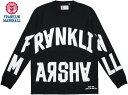 FRANKLIN&MARSHALL/フランクリンアンドマーシャル TSHIRT JERSEY ROUND NECK LONGプリント入り長袖Tシャツ/カットソーBLACK(ブラック)…