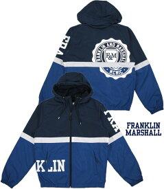FRANKLIN&MARSHALL/フランクリンアンドマーシャル JACKETS NYLON ZIP + HOOD LONG エンブレムロゴプリント入り、ナイロンウィンドブレーカー/ナイロンパーカ NAVY(ネイビー)/JKMF407ANW18