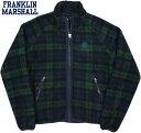 FRANKLIN&MARSHALL/フランクリンアンドマーシャル FULL ZIP TEDDY JACKET ボアフリースジャケット/チェックボアジャケット GREEN BLAC…