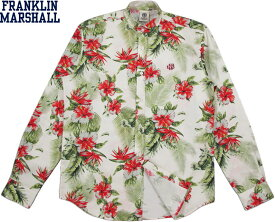 FRANKLIN&MARSHALL/フランクリンアンドマーシャル STAND COLLAR LONG SHIRTフラワープリント バンドカラーシャツ/スタンドカラーシャツ/花柄立ち襟シャツ FLOWER ALL OVER(ボタニカルプリント)/SKU #SHMF496ANS19