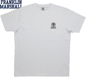 FRANKLIN&MARSHALL/フランクリンアンドマーシャルMEN'S JERSEY ROUND-NECK T-SHIRTエンブレムロゴ プリント入り、半袖Tシャツ/ワンポイントTEEWHITE(ホワイト)/SKU #TSMF107ANS19