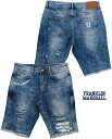 FRANKLIN&MARSHALL/フランクリンアンドマーシャル DENIM CLASSIC SHORTS ダメージデニムショーツ/ストレッチ デニムショーツ/ショートパンツ DAMAGE BLUE(ダメージブルー)SKU #STMF486ANS19