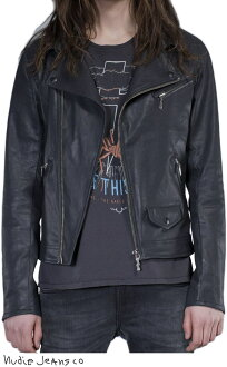 20%OFF★Nudie Jeans co/牛羚D牛仔褲SIXTEN PUNK JACKET表面塗層黑色粗斜紋布,騎手茄克BLACK(黑色)