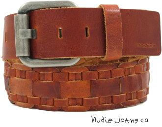Nudie Jeans co(牛羚D牛仔褲)MARCUSSON BELT BRAIDED BELT(網絲皮革皮帶)COGNAC(白蘭地酒棕色)