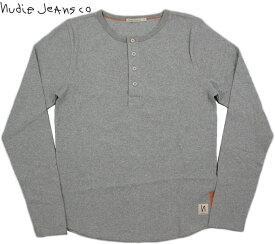Nudie Jeans co/ヌーディージーンズLS HENLEY RIBリブ 長袖 ヘンリーネック Tシャツ/長袖無地ヘンリーTシャツ GREYMELANGE(グレーメランジ)