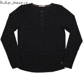 Nudie Jeans co/ヌーディージーンズLS HENLEY RIBリブ 長袖 ヘンリーネック Tシャツ/長袖無地ヘンリーTシャツ BLACK(ブラック)