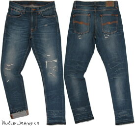 Nudie Jeans co/ヌーディージーンズ LEAN DEAN/リーンディーン NICLAS REPLICA(ニコラスレプリカ) 11.5 oz. comfort stretch denimクラッシュ&リペア・ストレッチスキニーデニムパンツ