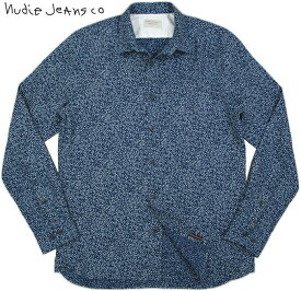 Nudie Jeans co/ヌーディージーンズ HENRY PRINTED LINEN 小花柄インディゴ・リネンシャツ/麻シャツ INDIGO(インディゴ)