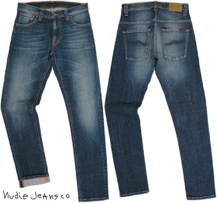 Nudie Jeans co/ヌーディージーンズTHIN FINN/シンフィン TIGHT FIT, NORMAL WAIST, LOW YOKE, NARROW LEG, OPENING ZIP FLY BRIGHT DAWN(ブライトドォウン) ストレッチ・スキニーデニムパンツ
