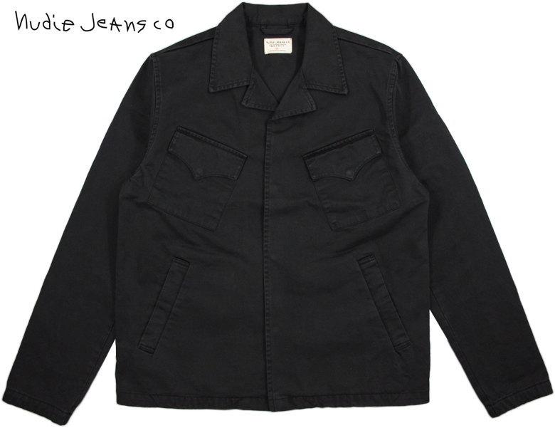 Nudie Jeans co/ヌーディージーンズ KLAS COACH JACKET コットンサテン・コーチジャケット/カバーオールジャケット BLACK(ブラック)