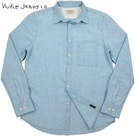 Nudie Jeans co/ヌーディージーンズ STANLEY LIGHT SHADE CHAMBRAY シャンブレーシャツ/レギュラーフィットシャツ DENIM(ライトシェードシャンブレー)