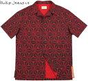 Nudie Jeans co/ヌーディージーンズ BRANDON IKAT PRINT 半袖オープンシャツ/コットンアロハシャツ BLACK/RED(ブラック×レッド)