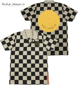Nudie Jeans co/ヌーディージーンズ MIKAEL CHECKERS POLO 半袖ポロシャツ BLACK×SAND(ブラック×サンドベージュ)