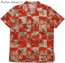 Nudie Jeans co/ヌーディージーンズ BRANDON ROSES 半袖オープンシャツ/コットンアロハシャツ MANTLE RED(レッド)