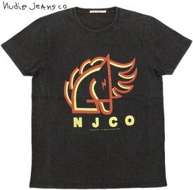 Nudie Jeans co/ヌーディージーンズ ANDERS BACKAHASTEN オーガニックコットン、半袖プリントTシャツ/半袖カットソー BLACK(ブラック)