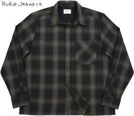 Nudie Jeans co/ヌーディージーンズ STEN SHADOW CHECK シャドウチェック ワークシャツ BLACK(ブラック)