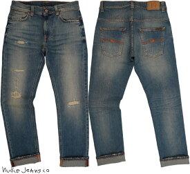 Nudie Jeans co/ヌーディージーンズTHIN FINN/シンフィン BROKEN LIGHTS(ブロークンライツ) クラッシュ&リペア・コンフォートストレッチデニム/スキニージーンズ/デニムパンツ