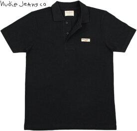 Nudie Jeans co/ヌーディージーンズ MIKAEL LOGO POLO SHIRT ワンポイントロゴ刺繍入り、半袖ポロシャツ BLACK(ブラック)