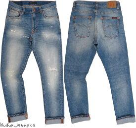 Nudie Jeans co/ヌーディージーンズ LEAN DEAN/リーンディーン BROKEN SUMMER(ブロークン サマー) 12 oz. comfort stretch denimクラッシュ&リペア・ストレッチスキニーデニムパンツ
