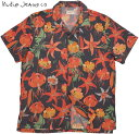 Nudie Jeans co/ヌーディージーンズ ARVID LILIES アロハシャツ/半袖テンセル オープンシャツ/リヨセル ハワイアンシャツ BLACK(ブラッ…