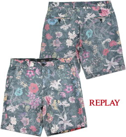 REPLAY/リプレイM9567ALL-OVER FLORAL PRINT BERMUDA SHORTSボタニカルプリント入り、ストレッチショーツ/花柄ショートパンツ FLOWERS(フラワー)