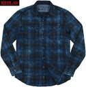 REPLAY/リプレイ M4987 CHECKED DARK INDIGO BLUE SHIRTダークインディゴチェックシャツ INDIGO CHECK(インディゴブル…
