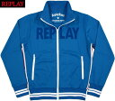 REPLAY/リプレイM3679A TECHNICAL SWEATSHIRT ZIPPERロゴライン入り、トラックジャケット/ジャージ/トラジャケ BLUE(ブルー)