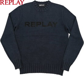 REPLAY/リプレイ UK3054 REPLAY WRITING SWEATER コットン クルーネックセーター/綿ニット DEEP BLUE(ディープブルー)